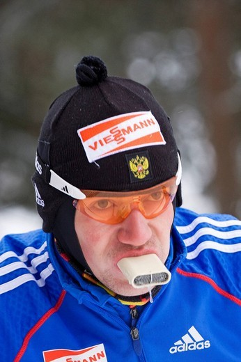 Biathletes during Training Men, with air warmer in the mouth to protect his bronchial tubes against the cold, Biathlon World Cup, Oberhof 2009, Thuringia, Germany, Europe : Stock Photo