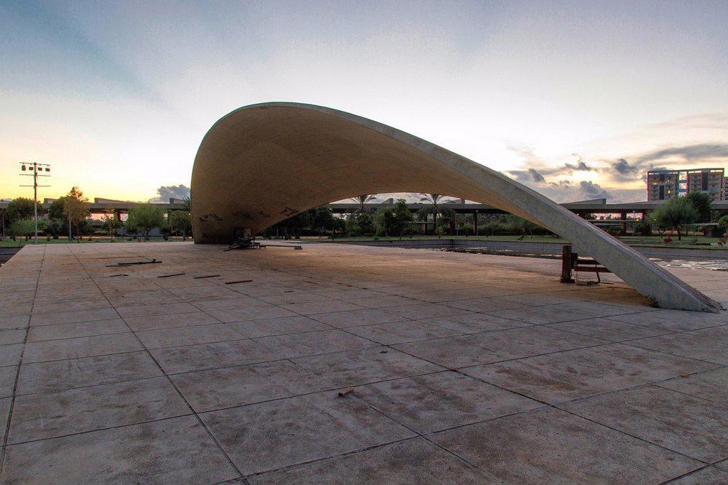 Theater stage, Expo, Rachid Karami International Fair, Tripoli, Lebanon. The Brazilian architect Oscar Niemeyer was planning the area in the early 1960s. : Stock Photo