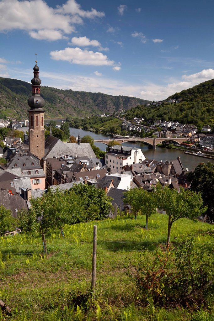 View from the Tummelchen on the town with Catholic parish church of St. Martin, Cochem, Moselle, Rhineland_Palatinate, Germany, Europe, PublicGround : Stock Photo