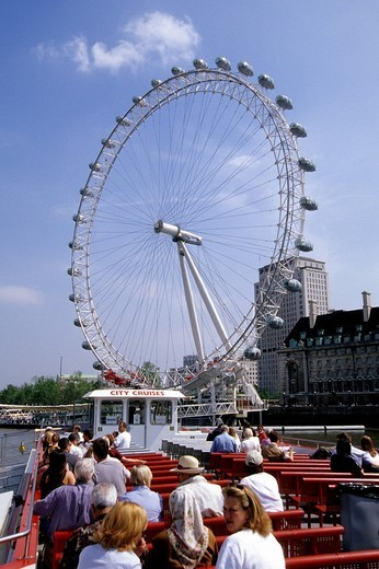 Boat trip on the Thames, leisure at the London Eye Ferris Wheel, London, England, UK, Europe : Stock Photo