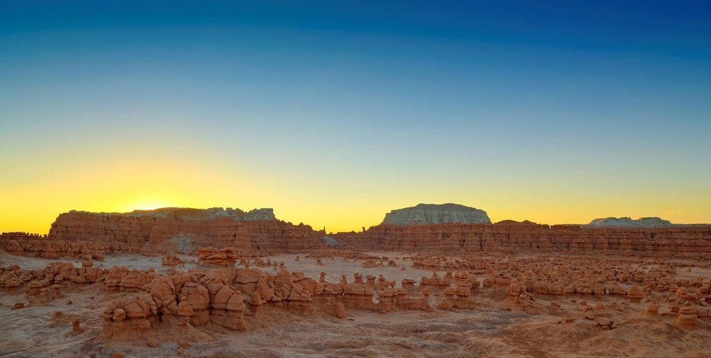 Stock Photo: 1848-752420 Sunrise, eroded entrada sandstone hoodoos and rock formations, Goblins, Goblin Valley State Park, San Rafael Reef Desert, Utah, Southwestern USA, USA