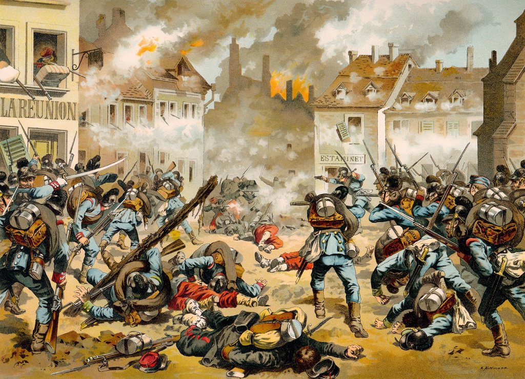 Stock Photo: 1848-752650 Battle of Bazeilles on 1 September 1870, one of the battles of Sedan, historic scene from the Franco_Prussian War or Franco_German War, 1870_1871, between the French Empire and the Kingdom of Prussia