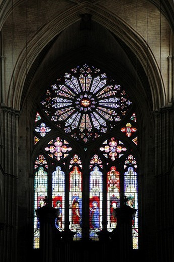 Rose window, Saint Etienne de Bourges Cathedral, Centre, France, Europe : Stock Photo