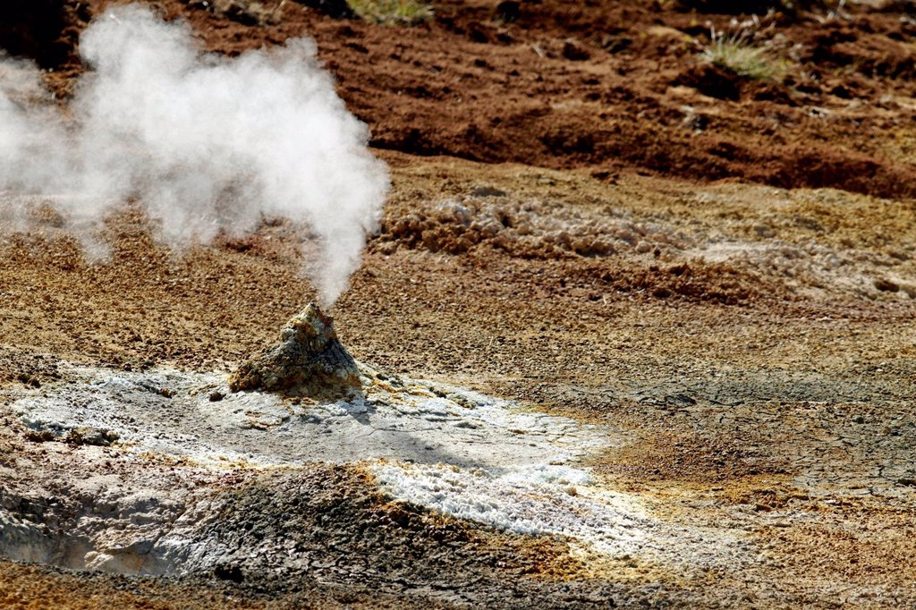 Stock Photo: 1848-753310 Thermal ventilator, geothermal area, Hellisheidi, Iceland, Europe