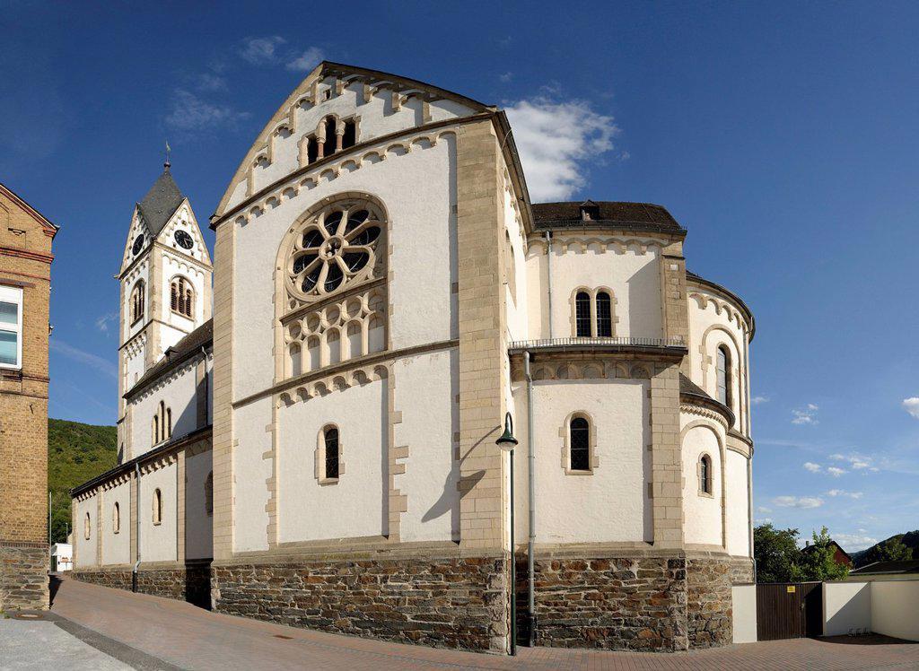 Parish Church of St. Nicholas, Kamp_Bornhofen, Rhein_Lahn_Kreis district, Rhineland_Palatinate, Germany, Europe : Stock Photo