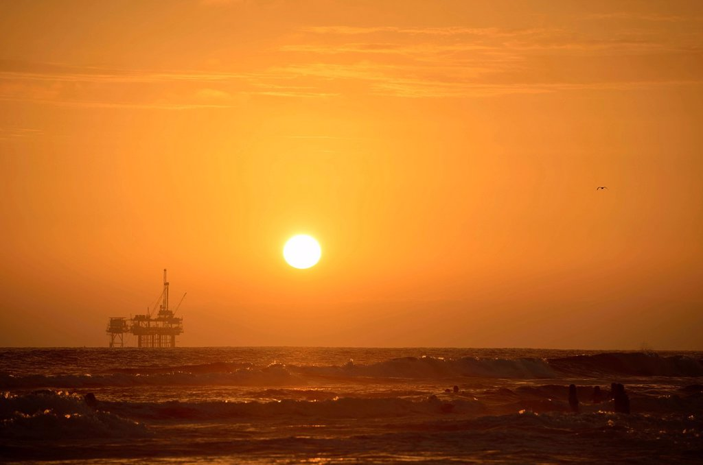 Stock Photo: 1848-754055 Offshore oil rig off Huntington Beach, sunset, California, United States of America, USA