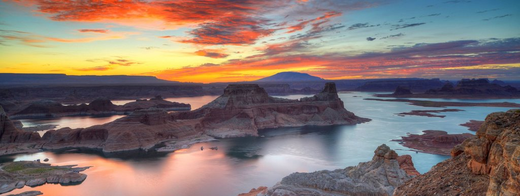 Stock Photo: 1848-754169 Panoramic view, view at sunrise from Alstrom Point to Lake Powell, Padre Bay with Gunsight Butte and Navajo Mountain, Bigwater, Glen Canyon National Recreation Area, Arizona, Southwestern USA, Utah, USA