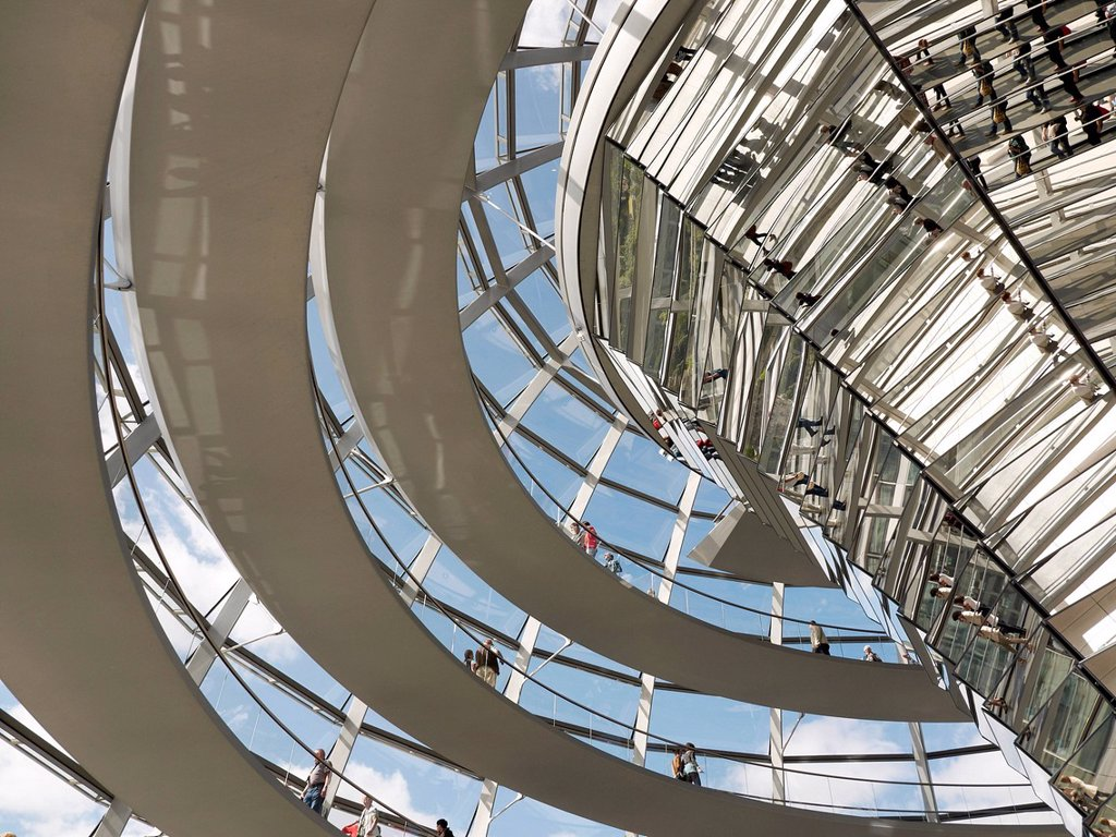 Stock Photo: 1848-754455 Tourists and visitors inside the dome of the Reichstag Building, Berlin, Germany, Europe