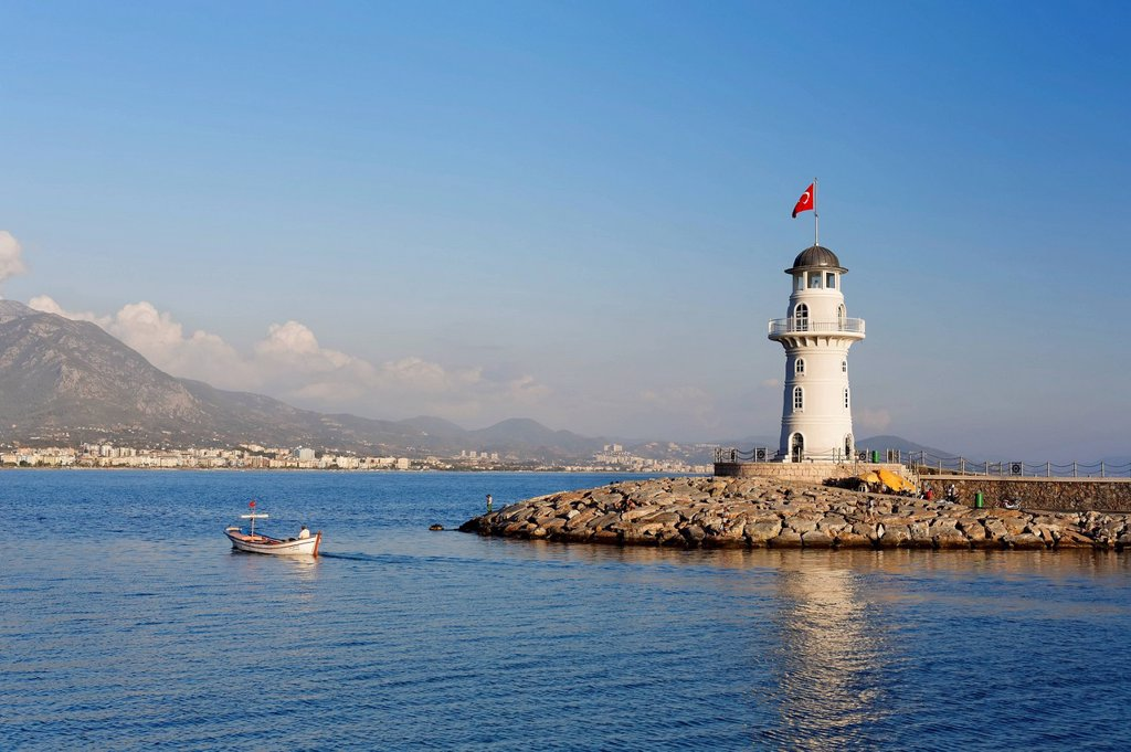 Stock Photo: 1848-754606 Lighthouse at the port of Alanya, Antalya, Turkish Riviera, Turkey, Asia