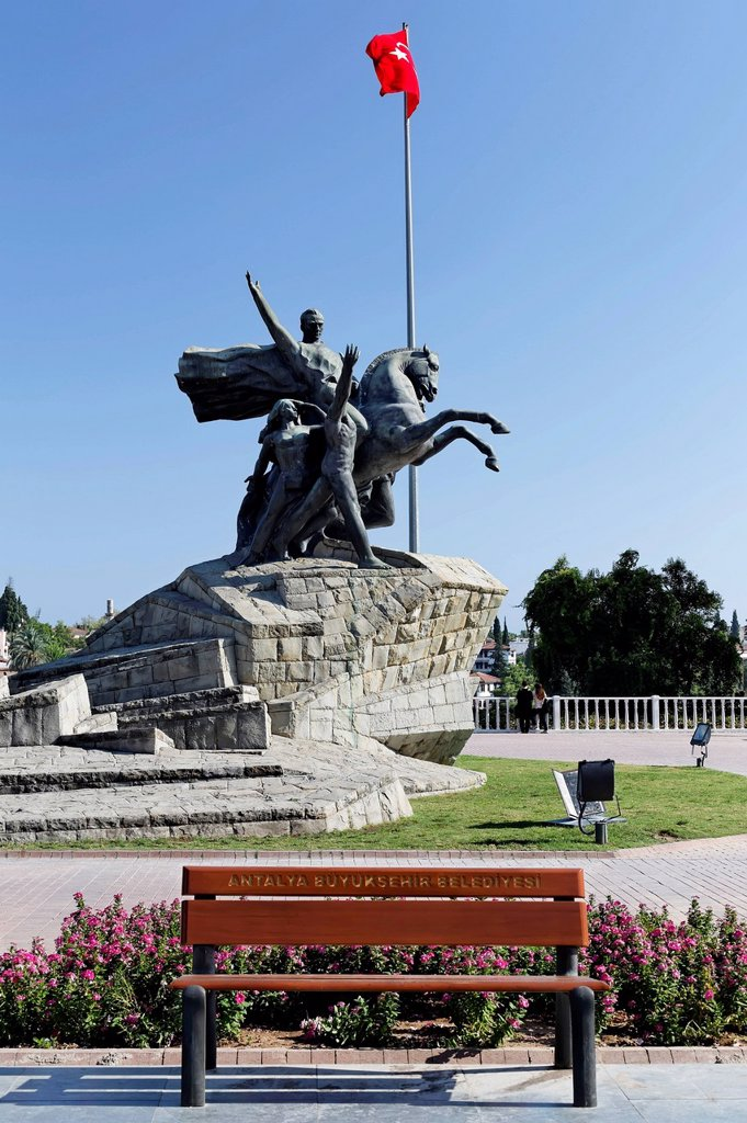 Stock Photo: 1848-754989 Statue of Mustafa Kemal Ataturk with the Turkish flag, historic town centre of Antalya, Kaleici, Turkish Riviera, Turkey, Asia