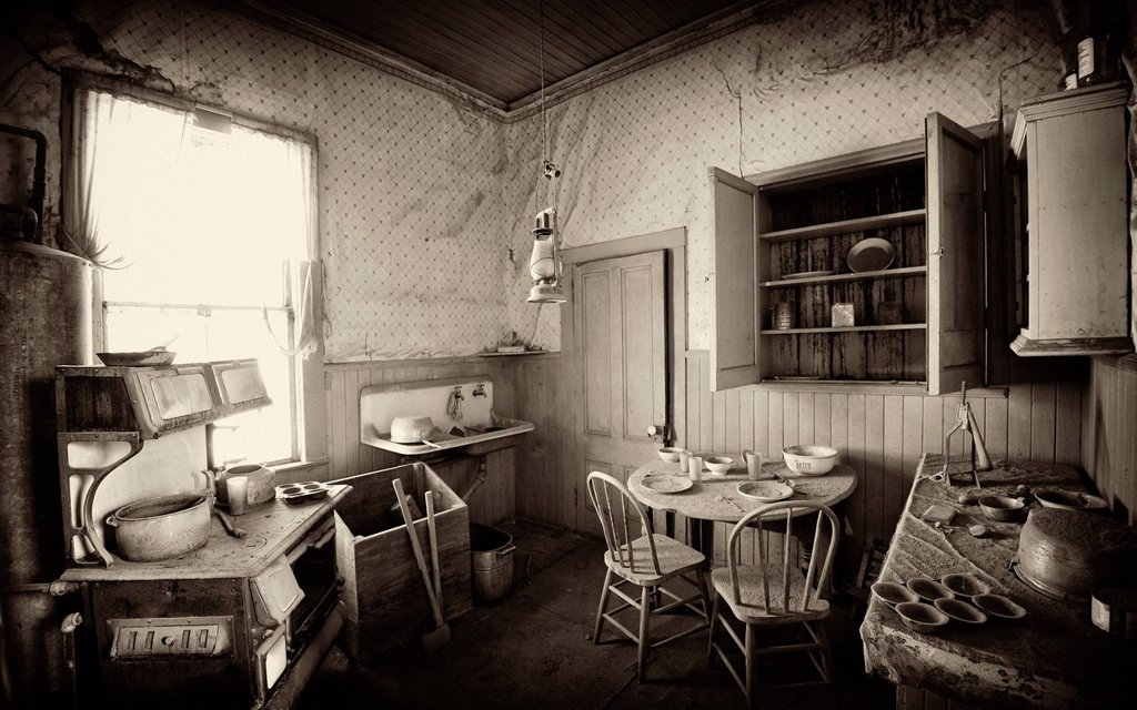Kitchen interior, residence of the wealthy citizen James Stuart Cain, ghost town of Bodie, a former gold mining town, Bodie State Historic Park, California, United States of America, USA : Stock Photo
