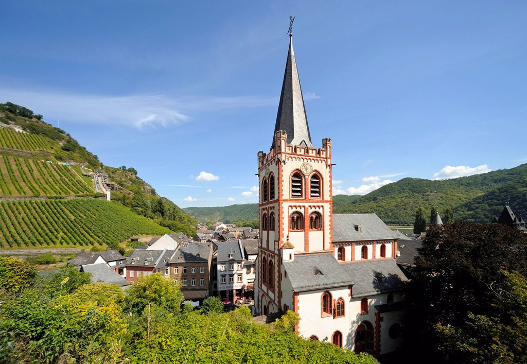 Stock Photo: 1848-755939 Lutheran Church of St. Peter, Bacharach, UNESCO World Heritage Site, Rhineland_Palatinate, Germany, Europe