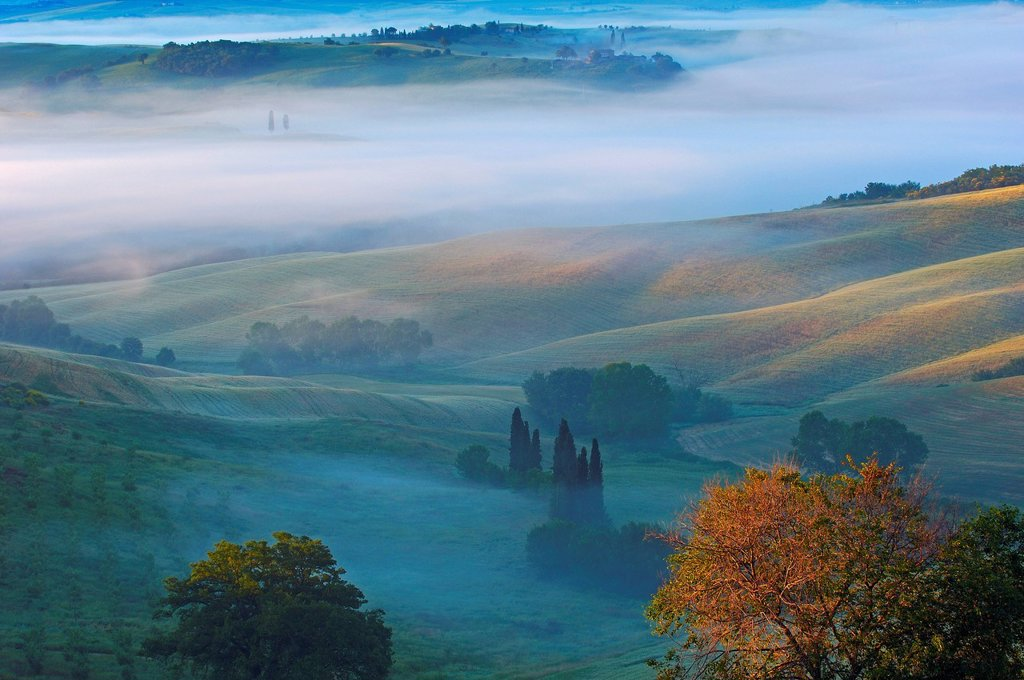 Stock Photo: 1848-756894 Val d´Orcia, Orcia Valley at dawn, morning fog, UNESCO World Heritage Site, Siena Province, Tuscany, Italy, Europe