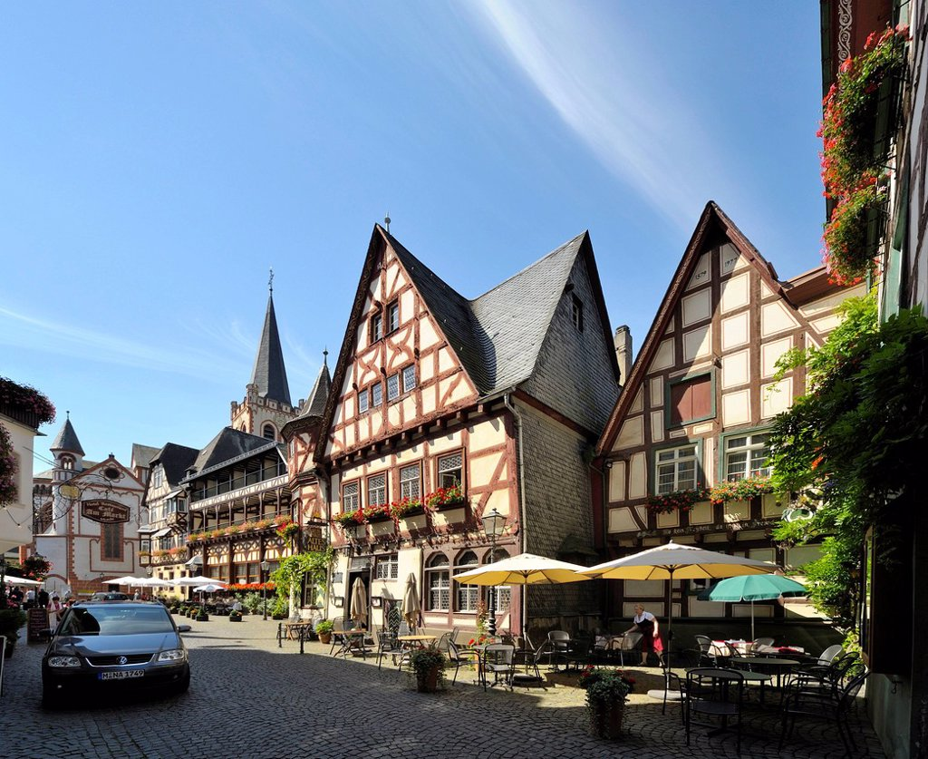 Stock Photo: 1848-757964 Weinhaus Altes Haus tavern, Am Markt, Bacharach, UNESCO World Heritage Site, Rhineland_Palatinate, Germany, Europe