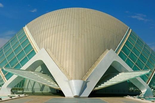 Stock Photo: 1848-7583 L´Hemisferic, by S. Calatrava, City of Arts and Sciences, Comunidad Valenciana, Valencia, Spain, Europe