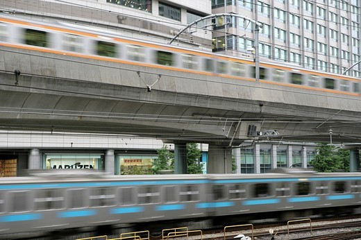 Stock Photo: 1848-75858 Metro and JR_Line local trains on tracks, Tokyo, Japan, Asia