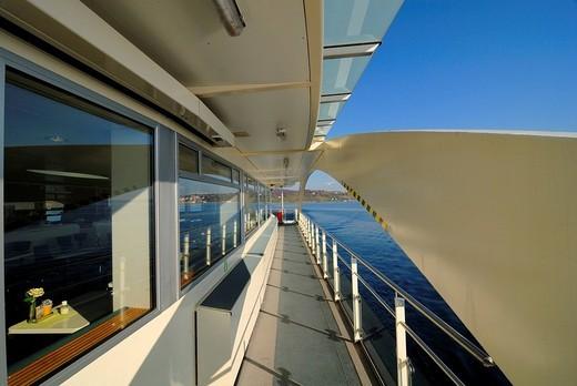 The corridor from the ferry ship MF Tábor _ Baden Wuerttemberg, Germany Europe. : Stock Photo