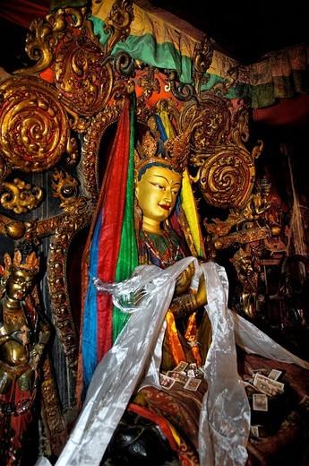 Stock Photo: 1848-75890 Buddha statue, Palcho Monastery or Pelkor Chode Monastery or Shekar Gyantse, Gyantse, Tibet