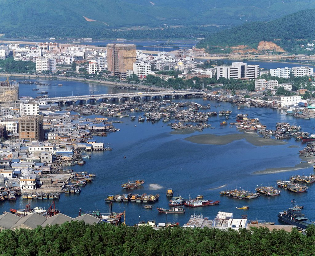 Stock Photo: 1848-758984 Heikou, harbour, city panorama, Hainan Island, China, Asia