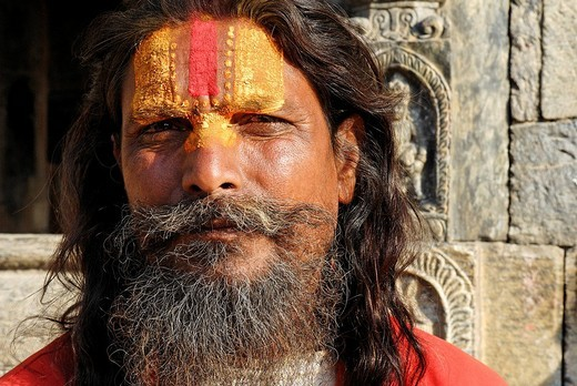 Sadhu, holy man, Pashupatinath, Kathmandu, Nepal : Stock Photo
