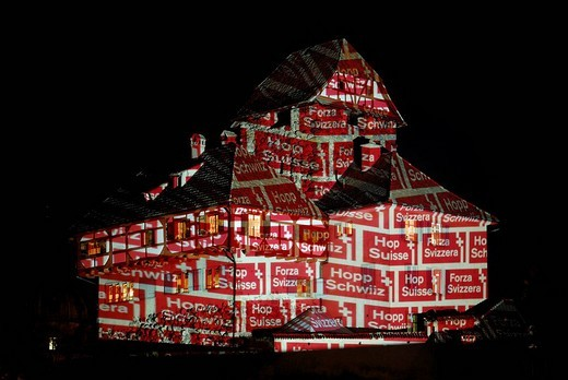 Illuminations at Frauenfeld Castle, Frauenfeld, Canton of Thurgau, Switzerland, Europe : Stock Photo