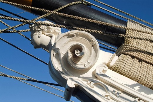 Stock Photo: 1848-76162 Figurehead on the prow of the Brig Amity, replica of a sailing ship from the time of colonialization, Albany, Western Australia, Australia