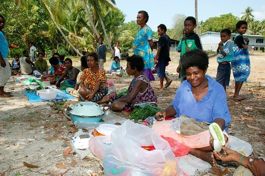 Stock Photo: 1848-76305 Women selling vegetables at a market, Heldsbach, Papua New Guinea, Melanesia