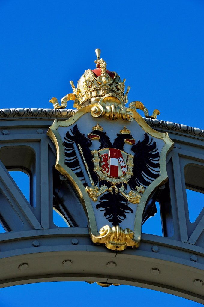 Austrian coat of arms on the border bridge between Bavaria and Salzburg State, Laufen, Chiemgau region, Upper Bavaria, Bavaria, Germany, and Oberndorf, Salzburg State, Austria, Europe : Stock Photo