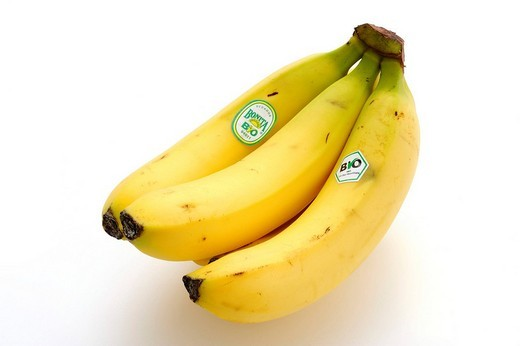 Organic bananas with label : Stock Photo