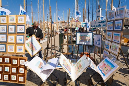 Watercolour_paintings on sale at the marina of Saint_Tropez, Département Var, at the Cote d´Azur, Provence, Southern France, France : Stock Photo