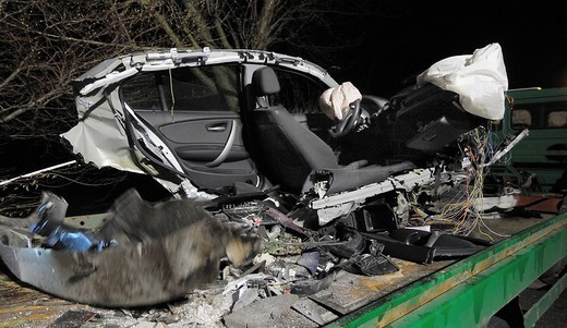 Serious traffic accident, the driver survived miraculously, L 1140 highway near Ludwigsburg, Baden_Wuerttemberg, Germany, Europe : Stock Photo