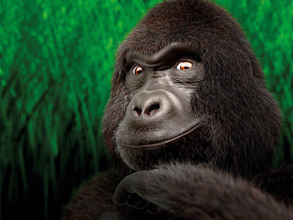 Gorilla, portrait, 3D rendering, illustration : Stock Photo