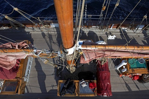 Stock Photo: 1848-77094 Mast, deck, sailing boat, tradional sailboat