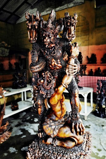 Mythology figures carved from wood, Sanur, Denpasar, Bali, Indonesia, Southeast Asia : Stock Photo