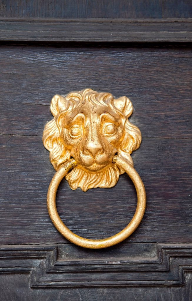 Nassau lion as door knocker, Schloss Weilburg Castle, Weilburg an der Lahn, Hesse, Germany, Europe : Stock Photo