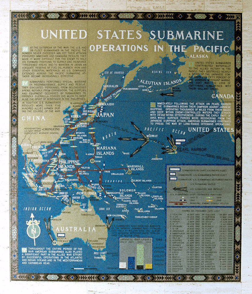 Stock Photo: 1848-777349 Mosaic map of the successfully completed American operations during the Pacific War, Submarine Operations in the Pacific, Manila American Cemetery, Fort Bonifacio