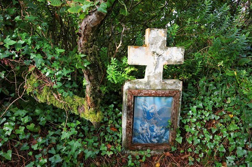 Cross on cemetery at Letterfrack , Connemara , Connacht , Ireland , Europe : Stock Photo