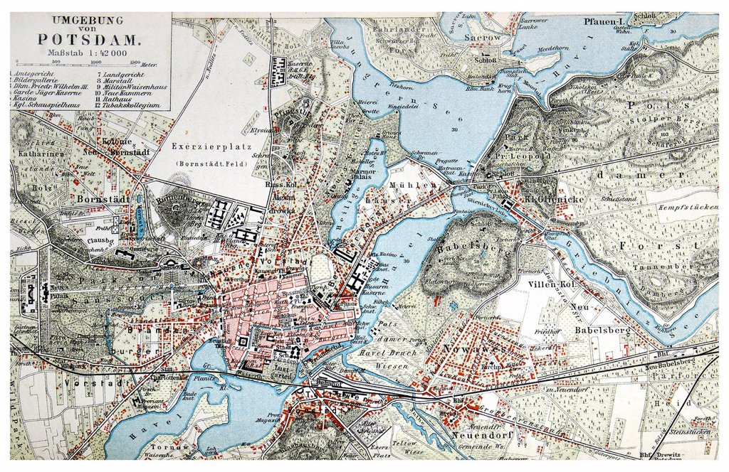 Stock Photo: 1848-778782 Map of the area surrounding Potsdam, from Meyers Konversations-Lexikon encyclopaedia, 1897