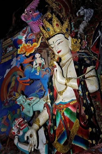 Clay statues, Palcho Monastery or Pelkor Chode Monastery or Shekar Gyantse, Gyantse, Tibet : Stock Photo