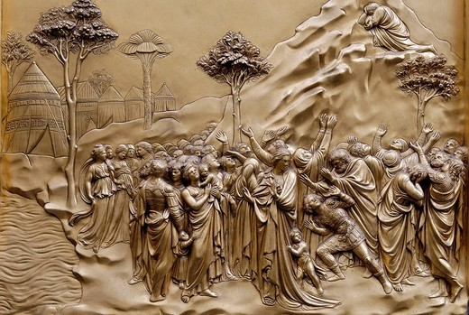 Stock Photo: 1848-78217 Bronze door to the Florence Paptistery or Battistero di San Giovanni or Baptistery of St John, early Renaissance masterpiece by Lorenzo Ghiberti, Florence, UNESCO World Heritage Site, Tuscany, Italy, Europe