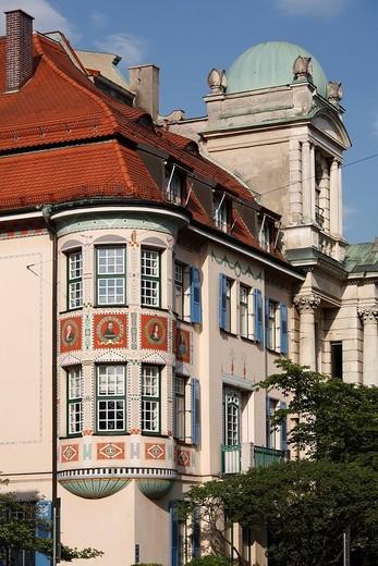 Palais Bissing in Georgenstrasse Street 10, Schwabing, Munich, Upper Bavaria, Germany, Europe : Stock Photo