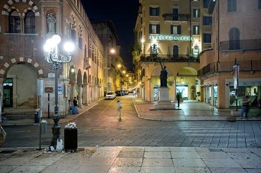 Piazza delle Erbe, historic centre of Verona, Italy, Europe : Stock Photo