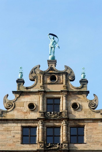 Stock Photo: 1848-78352 Figure of Fortuna, Fembo house, gable, late renaissance, historic city centre, Nuremberg, Franconia, Bavaria, Germany, Europe