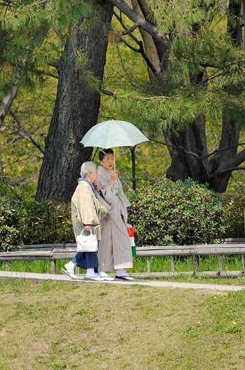 Stock Photo: 1848-78464 Elderly Japanese women with a parasol going for a walk, Kyoto, Japan, Asia