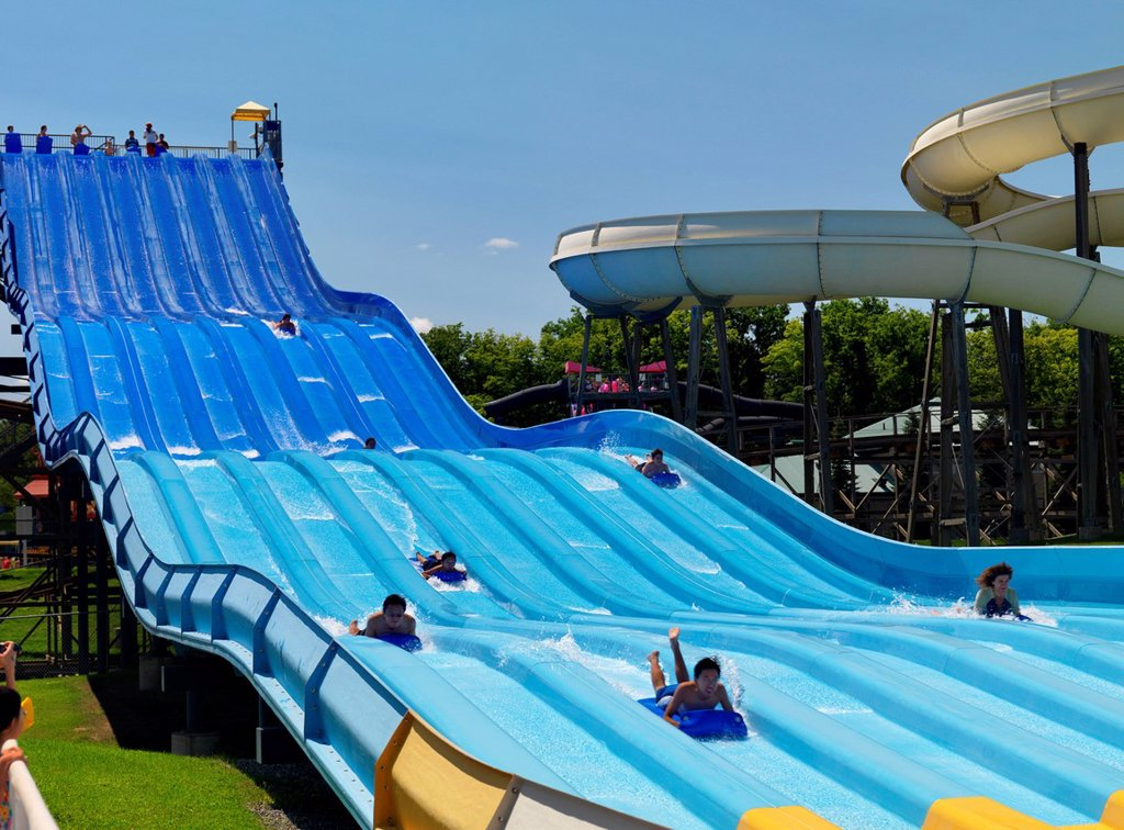 Riptide Racer water slide at a water park at Canada's Wonderland amusement park : Stock Photo
