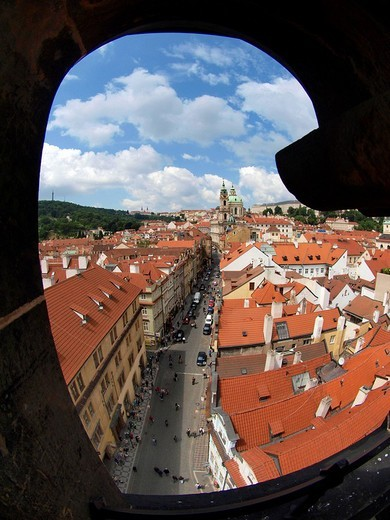 View from Lesser Town Bridge Tower, Prague, Central Bohemia, Czech Republic, Eastern Europe : Stock Photo