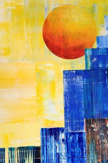 Stock Photo: 1848-79086 Sunset over Manhattan, New York, acrylic painting, artist Gerhard Kraus, Kriftel, Germany
