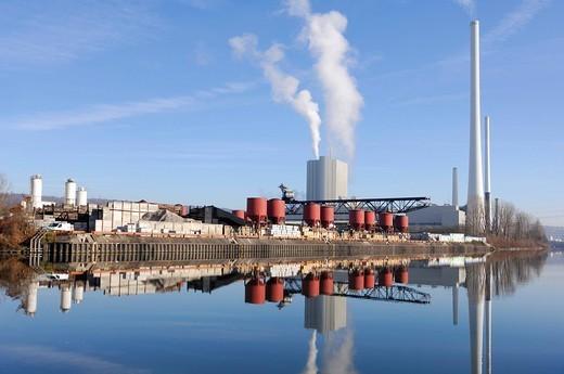 Co_generation power station, EnBw Altbach near Stuttgart am Neckar, Baden_Wuerttemberg, Germany : Stock Photo