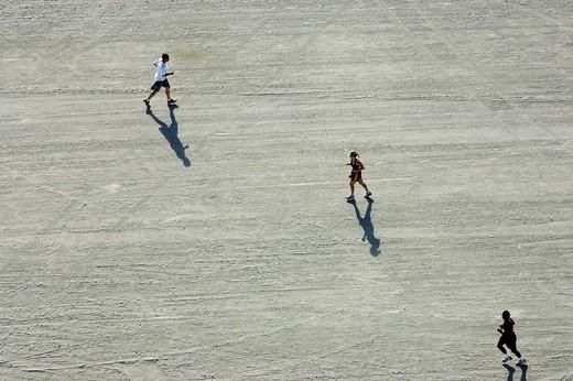 Stock Photo: 1848-79603 Jogger at the beach, South Beach, Miami Beach, Florida, USA