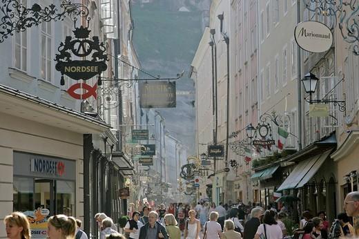 The famous shopping street Getreidegasse in the town of Salzburg Austria : Stock Photo